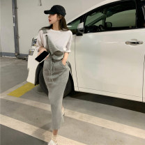 Dress Spring 2021 Black top 7651, grey strap skirt 7650, white strap skirt 7650 Average size Mid length dress Sleeveless commute High waist Solid color 18-24 years old Korean version 31% (inclusive) - 50% (inclusive) other