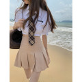 skirt Summer 2021 50. M, s, one size fits all White shirt (with tie) 11118, khaki pleated skirt 11119 Short skirt commute High waist Pleated skirt Solid color Type A 18-24 years old 11118#11119 30% and below other other Korean version