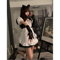 Dress Summer 2021 black S,M,L Short skirt singleton  Short sleeve commute square neck High waist Solid color Socket A-line skirt puff sleeve 18-24 years old Type A Korean version 71% (inclusive) - 80% (inclusive) other other