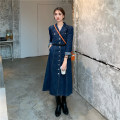 Dress Spring 2021 Graph color S,M,L Mid length dress singleton  Long sleeves commute High waist Single breasted 18-24 years old Type A Korean version 16029# 31% (inclusive) - 50% (inclusive)