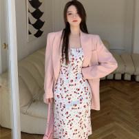 Dress Summer 2021 Pink suit, dress S, M longuette Two piece set commute High waist Broken flowers zipper 18-24 years old Korean version 2212# 31% (inclusive) - 50% (inclusive)