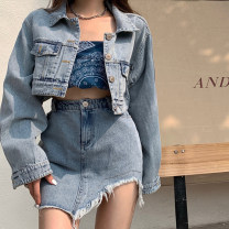 skirt Summer 2021 One size fits all, s, m, l Skirt, blue print bra, denim jacket Short skirt Versatile High waist A-line skirt Solid color Type A 18-24 years old 31% (inclusive) - 50% (inclusive)