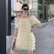 Dress Summer 2021 Apricot, black Average size Middle-skirt commute One word collar Loose waist routine 18-24 years old 9390# 31% (inclusive) - 50% (inclusive) other