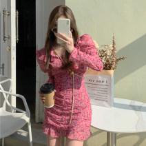 Dress Spring 2021 Off white, honey pink M, S Short skirt singleton  Long sleeves commute V-neck Broken flowers Ruffle Skirt puff sleeve 18-24 years old Korean version 7615# 31% (inclusive) - 50% (inclusive) other