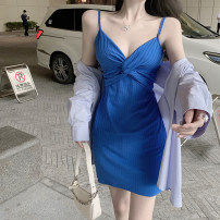 Dress Summer 2021 Shirt, suspender skirt S. M, average size Short skirt singleton  Sleeveless commute V-neck High waist stripe Socket One pace skirt routine camisole 18-24 years old Type A Korean version 81158115# 31% (inclusive) - 50% (inclusive) other other