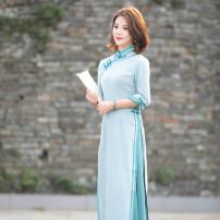 cheongsam Spring 2020 S M L XL XXL A096 long cheongsam Retro daily R18FA096 Ruyifeng polyester fiber Polyester 95% polyurethane elastic fiber (spandex) 5% Pure e-commerce (online only)