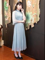 Dress Autumn 2020 S M L XL XXL Mid length dress three quarter sleeve commute 35-39 years old Ruyifeng Retro R18F9835 More than 95% polyester fiber Polyester 100%