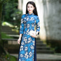 cheongsam Autumn 2020 S M L XL XXL Long sleeves long cheongsam Retro High slit Ruyifeng polyester fiber Polyester 98% polyurethane elastic fiber (spandex) 2%