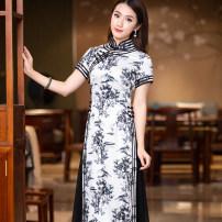cheongsam Summer 2020 S M L XL XXL R022 Short sleeve long cheongsam ethnic style High slit Decor Ruyifeng polyester fiber Polyester 98% polyurethane elastic fiber (spandex) 2% Pure e-commerce (online only)
