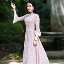 Dress Autumn 2020 R124 S M L XL XXL Mid length dress Nine point sleeve commute 35-39 years old Ruyifeng Retro R18FR124 More than 95% polyester fiber Polyester 98% polyurethane elastic fiber (spandex) 2%