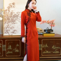 cheongsam Winter of 2019 S M L XL XXL 9669 orange Long sleeves long cheongsam ethnic style High slit Oblique lapel R18F9669 Ruyifeng polyester fiber Polyester 85% wool 15% Pure e-commerce (online only)