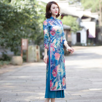 cheongsam Autumn of 2018 S M L XL XXL XXXL three quarter sleeve long cheongsam ethnic style High slit daily Oblique lapel Big flower Over 35 years old Ruyifeng polyester fiber Polyester 97% polyurethane elastic fiber (spandex) 3% Pure e-commerce (online only)