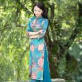 cheongsam Autumn 2020 S M L XL XXL R095 Long sleeves long cheongsam ethnic style R18FR095 Ruyifeng polyester fiber Polyester 98% polyurethane elastic fiber (spandex) 2%