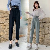 Casual pants Black, blue grey S,M,L,XL Spring 2021 Ninth pants loose  High waist commute routine 18-24 years old N54 Korean version pocket