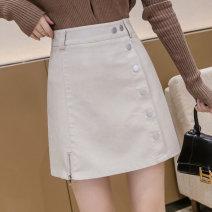 skirt Spring 2021 S,M,L,XL,2XL Black, beige Short skirt Versatile High waist A-line skirt Solid color Type A 18-24 years old G-42 31% (inclusive) - 50% (inclusive) PU zipper