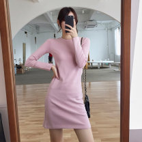 T-shirt Pink black and white S M L XL 2XL Autumn of 2019 Long sleeves Crew neck Self cultivation Medium length routine commute cotton 96% and above 18-24 years old Korean version other Solid color Beautiful clothes Cotton 97% polyurethane elastic fiber (spandex) 3% Pure e-commerce (online only)