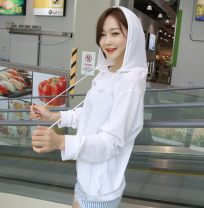Sweater / sweater Summer 2017 white S M L XL 2XL Long sleeves routine Socket singleton  routine Crew neck easy commute routine Solid color 96% and above Beautiful clothes Korean version cotton Drawstring cotton Cotton 97% polyurethane elastic fiber (spandex) 3% Pure e-commerce (online only)