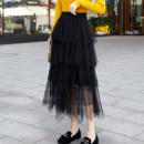 skirt Spring 2021 Average size Black, apricot, grey longuette Versatile High waist Cake skirt Solid color Type A 25-29 years old 198-02