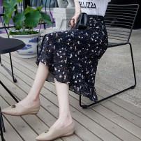skirt Summer 2021 S,M,L,XL Black flower, black wave point, Tibetan flower, little daisy Mid length dress Versatile High waist A-line skirt Decor Type A 25-29 years old Chiffon