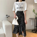 skirt Summer 2020 M,L,XL,2XL,3XL,4XL black Mid length dress Versatile High waist Irregular other Type A 18-24 years old