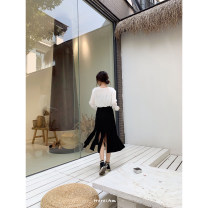 skirt Winter of 2019 S,M,L black Mid length dress Versatile High waist Irregular Type A 18-24 years old 71% (inclusive) - 80% (inclusive) other polyester fiber