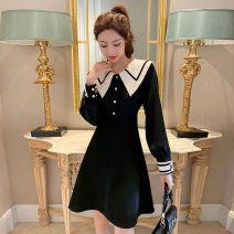 Dress Spring 2021 Black dress M (90-105), l (105-120), XL (120-135), 2XL (135-150), 3XL (150-165), white collar is (Khaki), not picture Mid length dress singleton  Long sleeves routine Lotus leaf edge