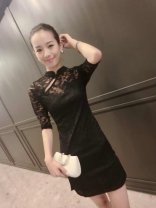 Dress Summer 2020 black XS,S,M,L,XL,2XL,3XL,4XL,5XL Short skirt elbow sleeve stand collar middle-waisted Solid color Socket routine 91% (inclusive) - 95% (inclusive) Lace