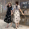 Women's large Summer 2020 Black and white Dress singleton  Sweet easy moderate Socket Short sleeve Dot Medium length Polyester acetate fiber Three dimensional cutting Myifan / MI Yifan 25-29 years old longuette Pure e-commerce (online only) bow princess