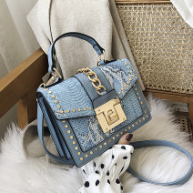 Bag Inclined shoulder bag PU Small square bag Other / other brand new European and American fashion in other hard Buckle no stripe Single root Straddle shoulder Yes youth Horizontal square rivet Soft handle synthetic leather PU leather