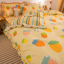 Bedding Set / four piece set / multi piece set Polyester (polyester fiber) Quilting Plants and flowers 128x70 Xingqing Polyester (polyester fiber) 4 pieces 40 Sheet bed skirt Qualified products Korean style twill Reactive Print  20200812GDmm Thermal storage other