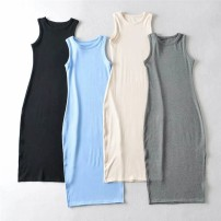 Dress Spring 2021 Black, apricot, grey, blue S, M longuette singleton  Sleeveless street Crew neck middle-waisted Solid color Socket other 18-24 years old Type H knitting cotton Europe and America