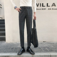 Western-style trousers Others Youth fashion Black, dark grey, light grey 28,29,30,31,32,33,34,36 trousers Slim fit autumn leisure time youth Business Casual lattice 2019 No iron treatment polyester fiber other 50% (inclusive) - 69% (inclusive)