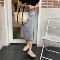 skirt Summer 2021 S,M,L Blue, pink Mid length dress commute High waist A-line skirt lattice Type A 18-24 years old Q28653 81% (inclusive) - 90% (inclusive) polyester fiber pocket Korean version