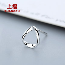Ear Studs Silver ornaments 30-39.99 yuan Shangfu Geometry (single) hexagon (single) star (single) square (single) Bauhinia (single) brand new Japan and South Korea female goods in stock Fresh out of the oven Not inlaid Love / water drop / bell GZ581 925 Silver Summer of 2018 yes