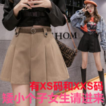 Casual pants Khaki, grey, black Xs, s, m, l, XL, XXS genuine smaller 140-160 Winter 2020 shorts Wide leg pants High waist commute routine 18-24 years old 96% and above Zhenyaluo other Korean version
