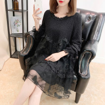 Dress Spring 2021 black S,M,L,XL,2XL singleton  commute Crew neck Loose waist Socket Type A Korean version Embroidery
