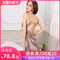 Nightdress A man in love Black champagne beans S M L XL sexy camisole pajamas Short skirt summer Solid color youth V-neck Polyester (polyester) Hollowing out More than 95% N92ZB71 Spring and summer 2014 Polyester 100% Pure e-commerce (online only)