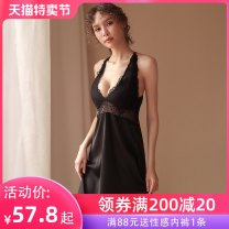 Nightdress A man in love Black and white M L sexy camisole pajamas longuette summer Solid color youth V-neck Polyester (polyester) Embroidery More than 95% polyester fiber QD12ZB550QN 200g and below Summer 2020 Polyester fiber 95.3% polyurethane elastic fiber (spandex) 4.7%