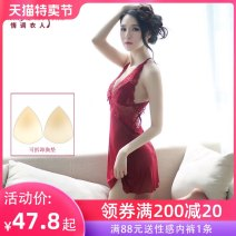 Nightdress A man in love S M L XL XXL sexy camisole pajamas Short skirt summer Solid color youth V-neck nylon Hollowing out 81% (inclusive) - 95% (inclusive) Mesh fabric 200g and below Summer 2020 Polyamide fiber (nylon) 95% polyurethane elastic fiber (spandex) 5%