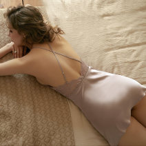 Nightdress A man in love Light purple Caramel S M L sexy camisole pajamas Short skirt summer Solid color youth V-neck Polyester (polyester) lace QD6758388WN Spring 2021 Polyester 95.9% polyurethane elastic fiber (spandex) 4.1% Pure e-commerce (online only)