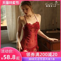 Nightdress A man in love M L sexy camisole pajamas Short skirt summer Solid color youth V-neck nylon Embroidery 81% (inclusive) - 95% (inclusive) 200g and below Summer 2020 Polyamide fiber (nylon) 83.3% polyurethane elastic fiber (spandex) 16.7%