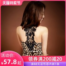 Nightdress A man in love M L sexy camisole pajamas UltraShort  summer Leopard Print youth V-neck Polyester (polyester) Hollowing out 81% (inclusive) - 95% (inclusive) 200g and below Autumn of 2019 Polyester fiber 87% polyurethane elastic fiber (spandex) 13%