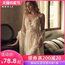 Nightdress A man in love Average size sexy camisole pajamas longuette summer Plants and flowers youth V-neck Polyester (polyester) Hollowing out More than 95% 200g and below Summer 2020 Polyester fiber 95.3% polyurethane elastic fiber (spandex) 4.7%