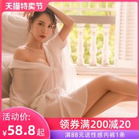 Nightdress A man in love Black (pajamas + underwear + belt) white (pajamas + underwear + belt) M L sexy Middle sleeve Living clothes Short skirt summer Solid color youth V-neck Polyester (polyester) More than 95% QD24ZB3QX 200g and below Summer of 2019 Polyester 100%