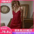 Nightdress A man in love claret S M L sexy camisole pajamas Short skirt summer Solid color youth V-neck Polyester (polyester) More than 95% 200g and below Spring 2021 Polyester 97.3% polyurethane elastic fiber (spandex) 2.7%