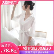 Nightdress A man in love Average size sexy Middle sleeve Living clothes longuette summer Solid color youth V-neck Polyester (polyester) More than 95% Chiffon 200g and below Summer of 2019 Polyester 100% Pure e-commerce (online only)
