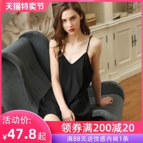 Nightdress A man in love M L XL sexy camisole pajamas Short skirt summer Solid color youth V-neck Polyester (polyester) More than 95% Silk 200g and below Summer of 2019 Polyester 96% polyurethane elastic fiber (spandex) 4%