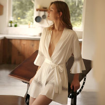 Nightgown / bathrobe A man in love female Average size Thin money sexy Polyester (polyester) summer More than 95% Super short (above Mid Thigh) silk Solid color youth Lotus leaf edge 200g and below Summer 2020 Polyester 96.4% polyurethane elastic fiber (spandex) 3.6% Pure e-commerce (online only)