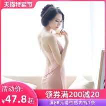 Nightdress A man in love S M L XL XXL sexy camisole pajamas Short skirt autumn Solid color youth V-neck nylon Hollowing out Mesh fabric Autumn 2015 Polyamide fiber (nylon) 95% polyurethane elastic fiber (spandex) 5% Pure e-commerce (online only)