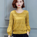 Lace / Chiffon Spring of 2018 White yellow black S M L XL 2XL 3XL Long sleeves commute Socket singleton  easy Regular Crew neck Solid color